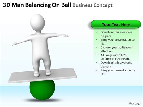 3d man balancing on ball business concept ppt graphics icons