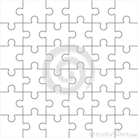 Jigsaw Puzzle Blank Template 36 Pieces Stock Vector Jigsaw Puzzle Design Template