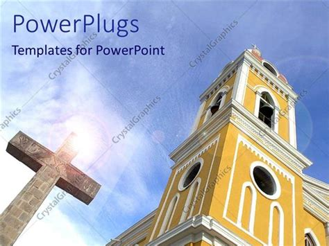 catholic powerpoint templates powerpoint template big catholic church with a cross