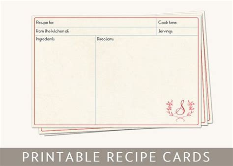 Monogram Recipe Card Template by 38 Best Printable Images On Printable Tags La