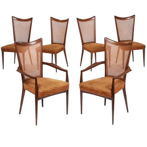 Caned Dining Chairs Set Of Six Caned Back Walnut Dining Chairs By Melchiorre Bega For Sale At 1stdibs