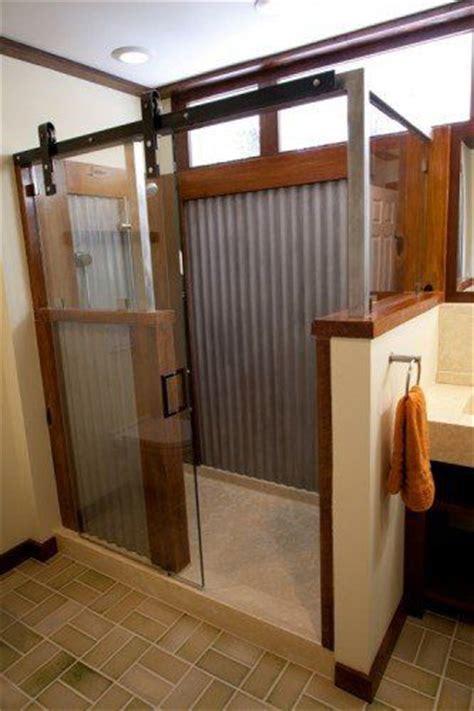 Walk In Shower Hardware Walk In Shower With A Barn Door Rustic Shower