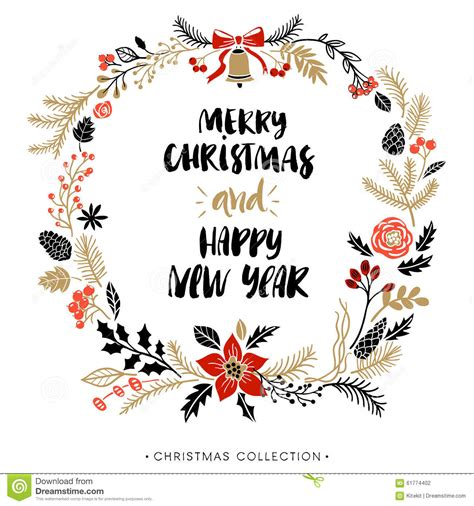 happy  year  merry christmas greeting wreath  calligraphy stock vector image