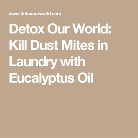 What Detox Can Kill You by Detox Our World Kill Dust Mites In Laundry With