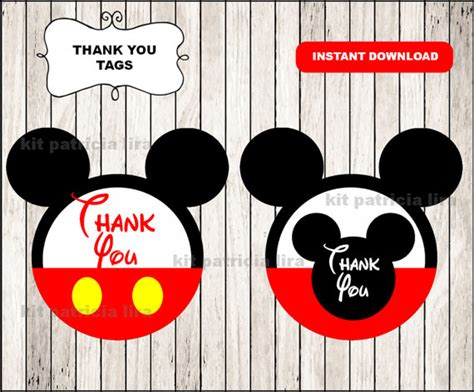 printable thank you cards mickey mouse mickey mouse thank you tags instant download mickey mouse