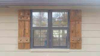Exterior Wood Shutters Stained Cedar Shutters Exterior Shutters Board And By Oncewood