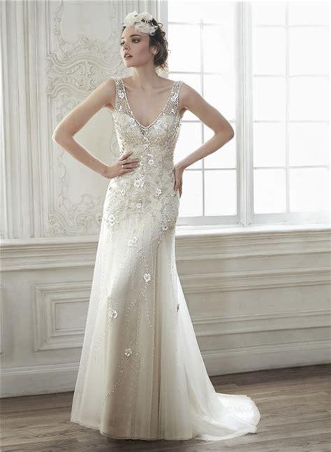 beaded back wedding dress v neck open back tulle beaded wedding dress with