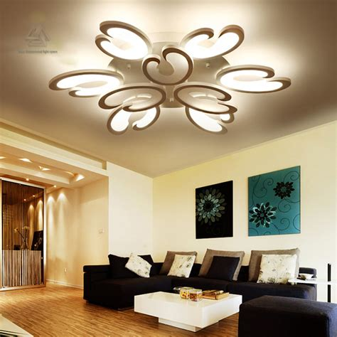 lighting for home decoration white fashion flower modern led ceiling light living room