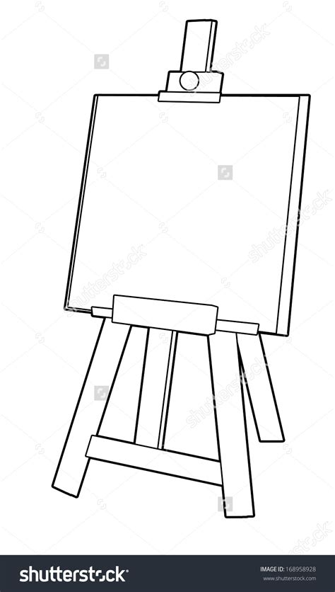 painting and coloring coloring page easel illustration for the children