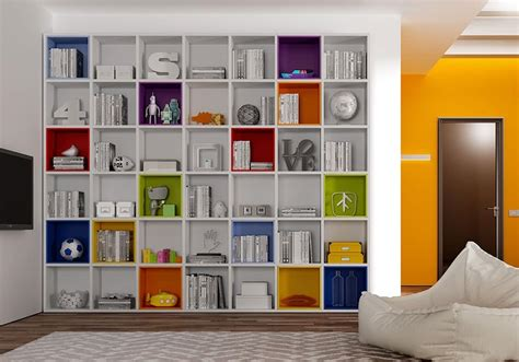 librerie colorate libreria moderna con box colorati idfdesign