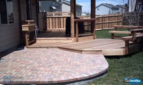 wood deck with paver patio deck patio combinations decktec outdoor designs