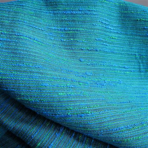 Vintage Blue Green Upholstery Fabric 12 Yards Textured Boucle