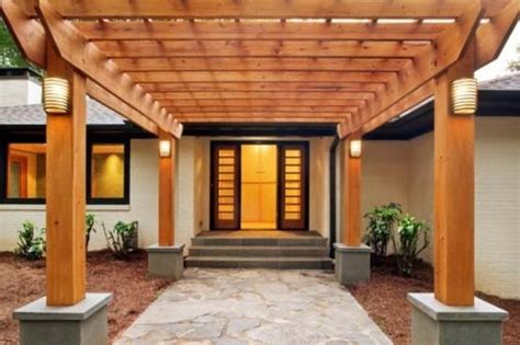 entrance home decor ideas exceptional wooden porch cover with stone concrete floors