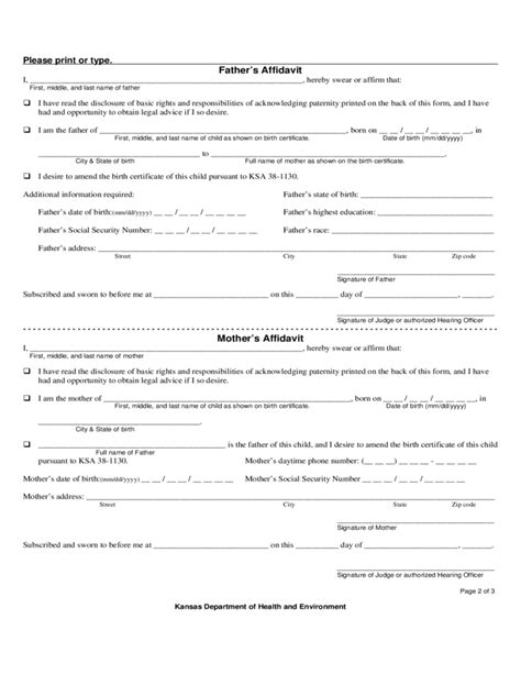 Jackson County Missouri Birth Records Kansas Paternity Consent Form For Birth Registration Free