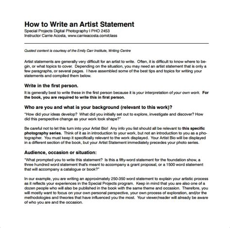 9 Sle Artist Statements Sle Templates How To Write A To Your Template