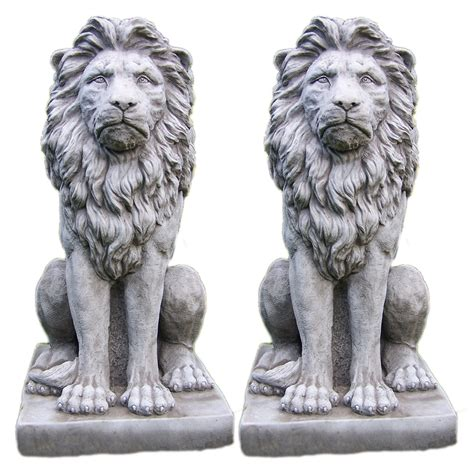 statues for home decor large proud lion statue pair stone garden ornament patio