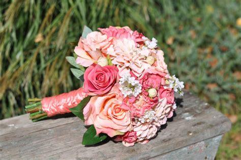Artificial Coral 024 wedding flowers summer wedding bouquet keepsake bouquet
