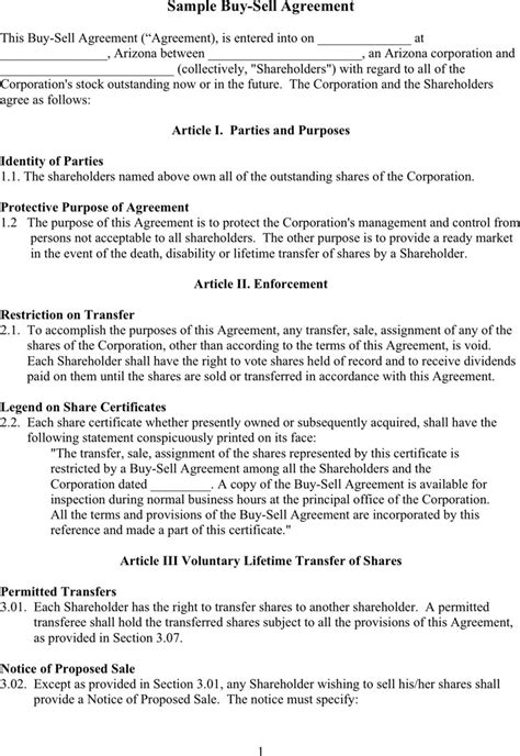 buyout agreement template buy sell agreement free premium templates