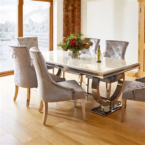 Dining Tabls Marble And Chrome Dining Table And 6 Silver Louis Chairs