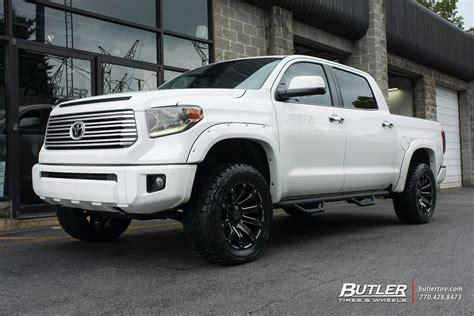 white toyota tundra with black wheels toyota tundra with 20in black rhino selkirk wheels