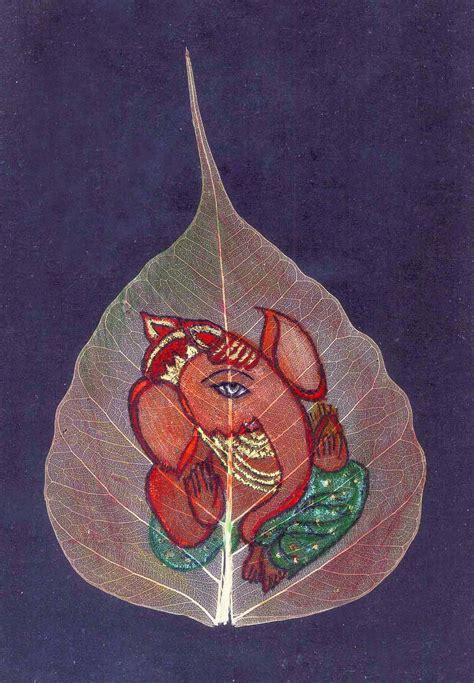 Handmade Ganesh Ji - handmade cards painting on peepal leaf ganesh ji