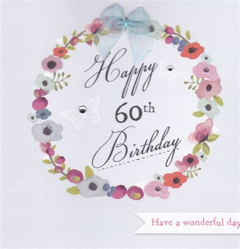 What To Write In A 60th Birthday Card Flowers And Butterflies 60th Birthday Card Karenza Paperie
