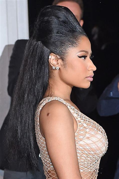 Nicki Minaj Hairstyles by Nicki Minaj Black Beehive Half Up Half