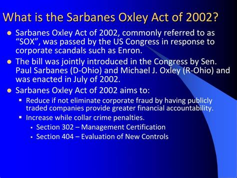 sarbanes oxley act 2002 section 404 ppt sarbanes oxley act of 2002 powerpoint presentation