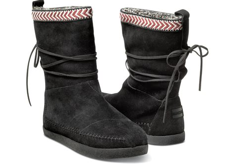 toms black suede trim s nepal boots in black lyst
