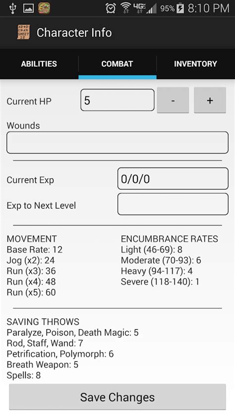 AD&D 2e Character Sheet - Android Apps on Google Play