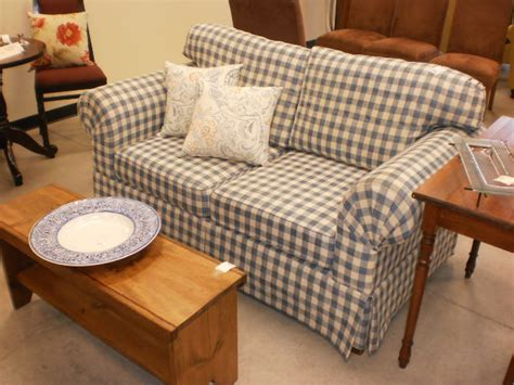 checked sofas 65 quot blue white gingham sofa sold designsbyconsign