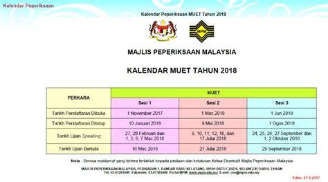 Kalendar Kuda 2018 Mac Pendaftaran Muet Mac 2018 Permohonan My