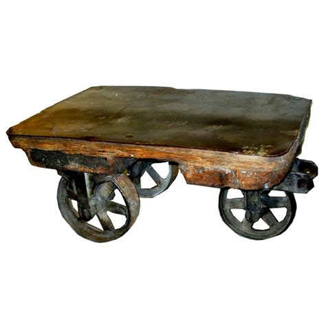 Antique Industrial Cart Coffee Table Antique Small Size Industrial Cart Coffee Table With Metal Top At 1stdibs