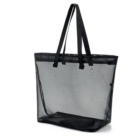 Mesh Panel Shopper Bag unisex sheer transparent mesh tote summer bag travel