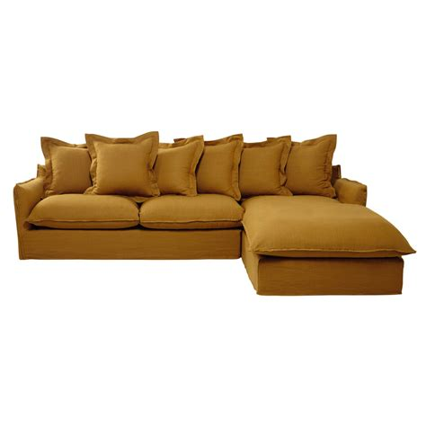 yellow corner sofa 7 seater washed linen corner sofa in mustard yellow