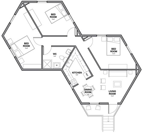 Hexagon Floor Plans by Architects For Society Creates Low Cost Hexagon Refugee
