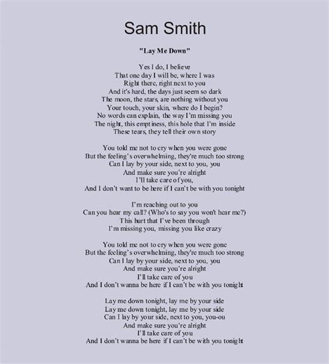 printable lyrics sam smith stay with me sam smith lay me down i absolutely love this song