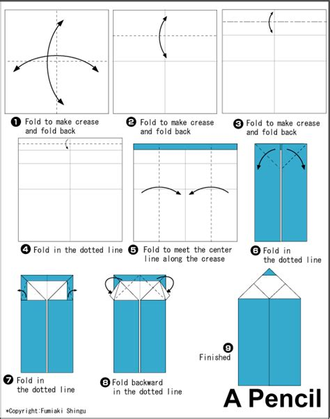 How To Make A Origami Pencil - pencil easy origami for