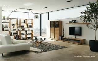 Living Room Design by Wooden Furniture In A Setting