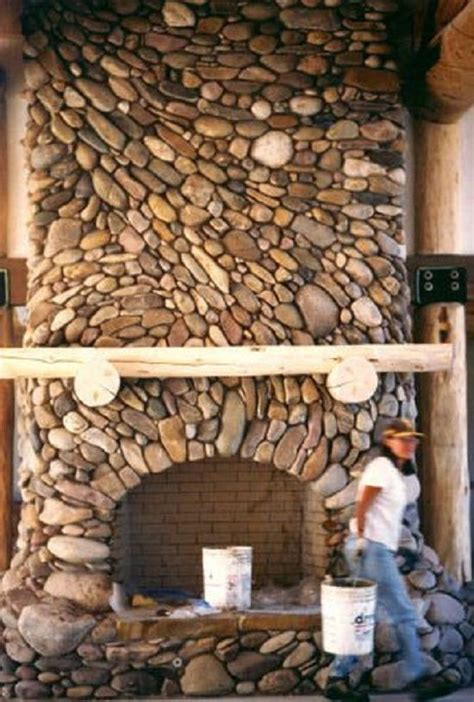 best 25 river rock fireplaces ideas on river