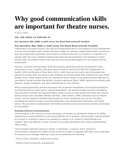 Communication Essay Exle by Why Communication Skills Are Important For Theatre Nurses
