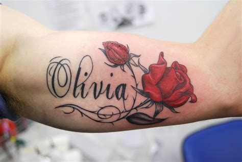rose tattoo with kids names inner arm name design busbones