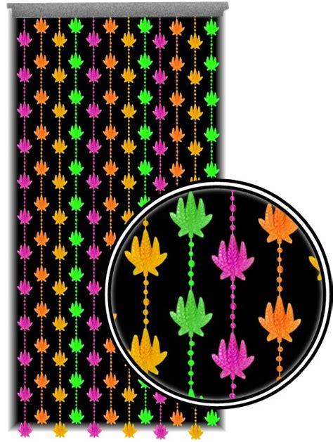 beaded curtains black light reactive neon pot leaf door