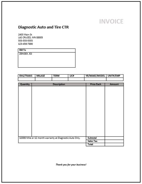 mechanic receipt template mechanic invoice template free auto repair