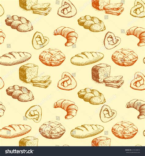 pattern goods bread bakery seamless pattern colorful background stock