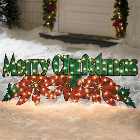 outdoor merry christmas poinsettia holiday decoration yard