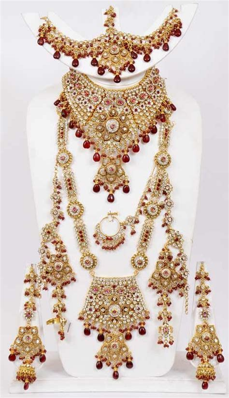 maroon stone studded bridal necklace set online shopping