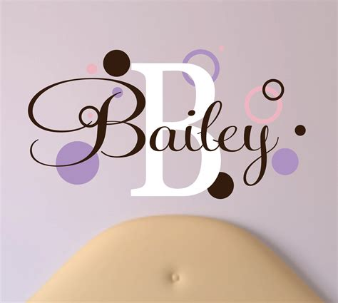 name wall stickers childrens name wall decal with rings and dots name wall