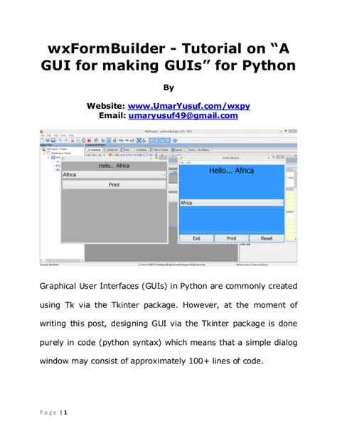tutorial for python wxformbuilder tutorial on a gui for making guis for python