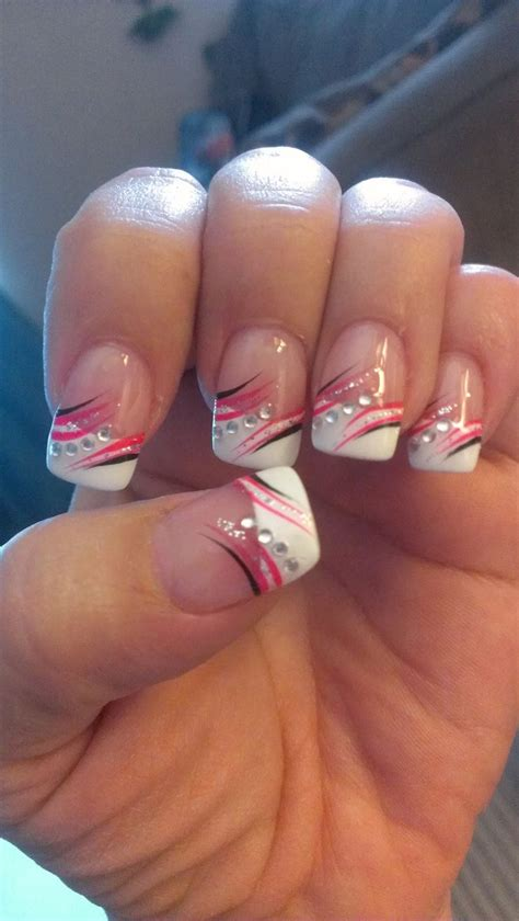 easy nail art black and pink french tip nail art nail art nail art tips black and